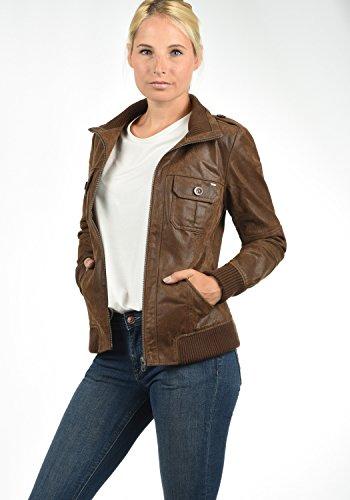 DESIRES Fame Damen Lederjacke Bikerjacke Echtleder Mit Stehkragen, Größe:XS, Farbe:Cognac (5048) - 3