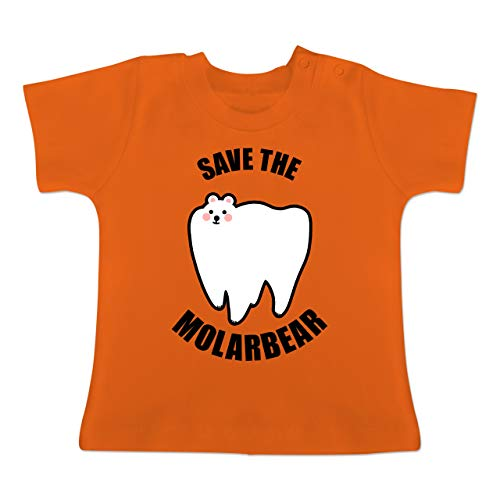 Tiermotive Baby - Save The Molarbear - 6-12 Monate - Orange - BZ02 - Baby T-Shirt Kurzarm