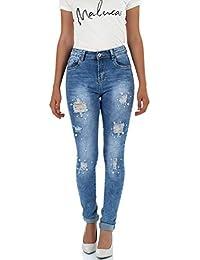 malucas Damen Jeans Skinny Hoher Bund Hose mit Perlen Stretch Denim 00466 4aa08d1a8e