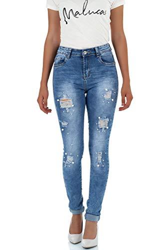 Malucas Damen Jeans Skinny Hoher Bund Hose mit Perlen Stretch Denim 00466, Größe:36, Farbe:Blau