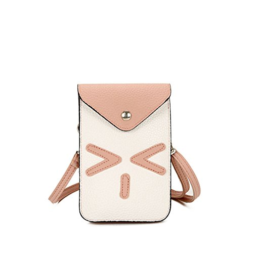 Modakeusu TM lusso opaca PU mini tracolla, borsa a spalla, il cellulare sacchetto Black Pink