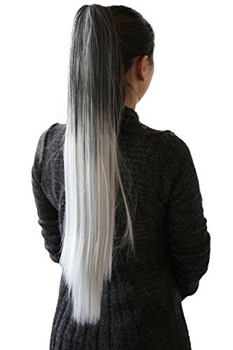 PRETTYSHOP Clip de en las extensiones postizos extensiones de cabello pelo liso largo hechos de fibras sintéticas resistentes al calor 70cm ombre gris negro # 1Tgray H116