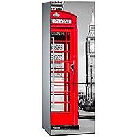 Oedim Vinilo para Frigorífico Cabina Telefono Roja 185 x 60 cm | Adhesivo Resistente y de Fácil Aplicación | Pegatina Adhesiva Decorativa de Diseño Elegante