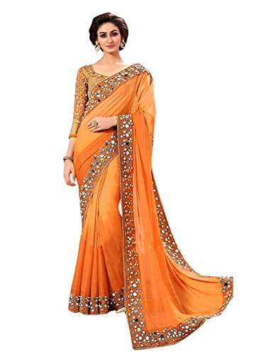Shiroya Brothers Women's Georgette Embroidered Saree with Blouse Piece (SB_Sari_7813_Orange_Free Size)