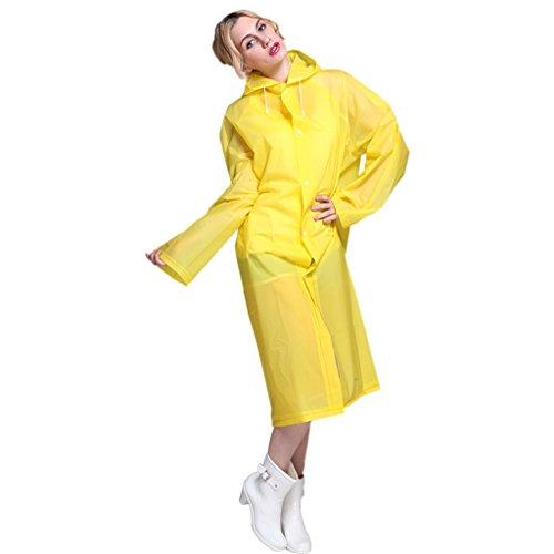 GWELL Femme Imperméable Cape Vêtement Veste de pluie à capuche élégant Léger Automne Hiver Jaune