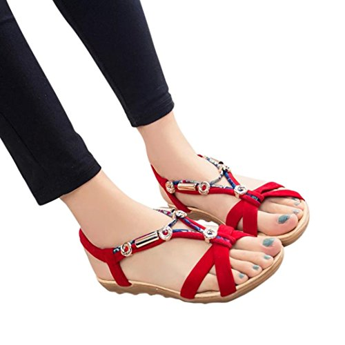 SamMoSon Pantofola Estate Sandali Scarpe Peep-Toe  Scarpe Basse  Romano Sandali Le Signore Flip Flop Sandalo Rosso
