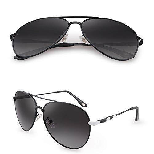 Wangwen Retro HD Polarized Sonnenbrille Für Herren Und Damen UV400 Anti-Blu-ray-Schutz Für Reisen Im Freien (Color : Black Frame Gray Piece)