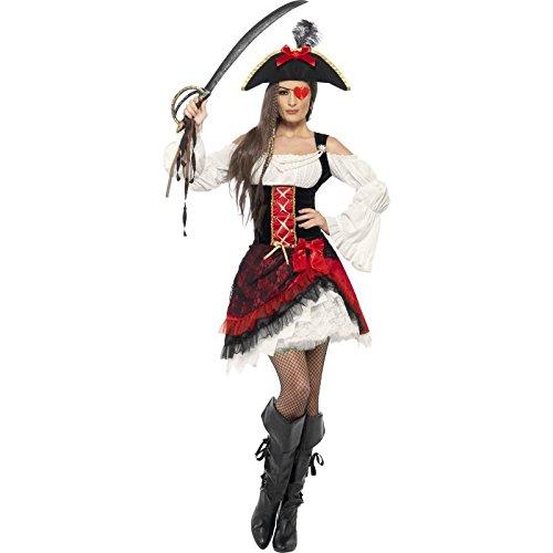 Smiffys Traje de dama pirata glamurosa, con vestido y sombrero