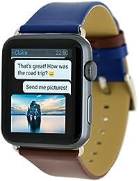 Apple Reloj Correa, Apple Watch Band 38 mm serie 3 Serie 2, MisVoice Doble Color Piel Auténtica Correa Muñeca Banda Reemplazo Con Broche de Metal Para Apple iWatch y Deporte y Edición 38 mm Regalos Embalaje Azul Oscuro/ Marrón