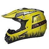 LUHUIYUAN Downhill-Helm für Motorradhelm Off-Road-Rennhelm,Yellow,S