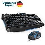 Gaming Tastatur und Maus Set, (2in1) – blaue Hintergrundbeleuchtung, deutsches QWERTZ Layout für PC USB – deutsche Marke Gamioso / von Gamer für Gamer