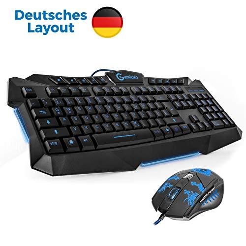 Maus Set, (2in1) - blaue Hintergrundbeleuchtung, deutsches QWERTZ Layout für PC USB - deutsche Marke Gamioso / von Gamer für Gamer ()