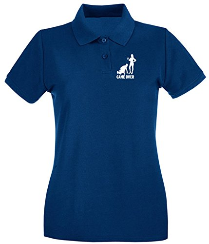 Cotton Island - Polo pour femme MAT0029 Game Over Maglietta Bleu Navy