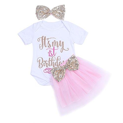 YiZYiF Neugeborene Mädchen Baby Spielanzug Top + Tüll Rock + Stirnband mit Pailletten Schleife 1. Geburtstag Geschenk Kleidung Outfit Set Weiß + Rosa 74-80 (Herstellergröße: 110) (Ostern Set Kleid)