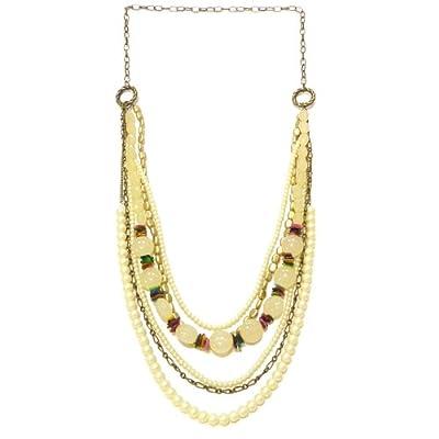 Collier sautoir femme soirée chaines perles Multicolore Doré et couleur principale au choix Violet, Bleu canard, Rouge, Crème