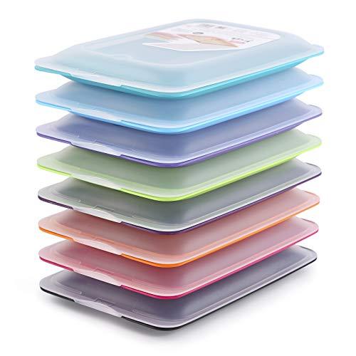 PracticFood - Set mit 8 Wurst- und Lebensmittelträgern Fresh-System, optimale Aufbewahrung von Scheiben im Kühlschrank, Maße 17 x 3.2 x 25.2 cm. 8 Farben