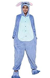 Hot Unisex Costume Carnevale Halloween Pigiama Animali Kigurumi Cosplay Zoo Onesies tuta-S/149-Stitch Azzurro