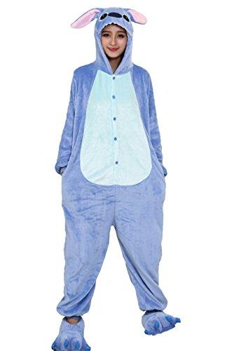 Stitch Disney Kostüm - Heißes Unisex-Kostüm für Karneval und Halloween, Cosplay Zoo, Einheitsgröße Stitch azzurro Large