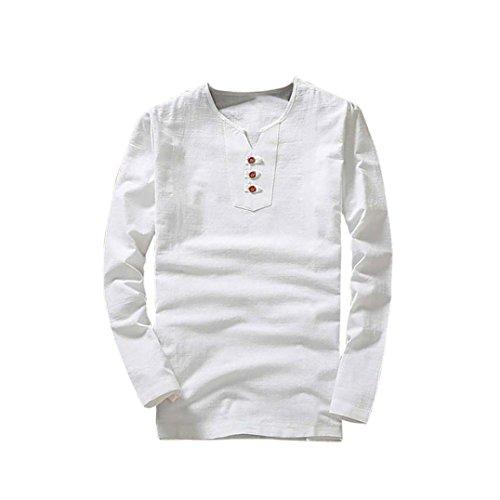 T-Shirt Top T-Shirt à col en V L'été des Hommes Lin et Coton Manche Courte Malloom