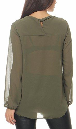 Malito Damen Chiffon Bluse | Tunika mit Fledermaus Ärmeln | Blusenshirt Leicht Durchsichtig | Elegant �?Shirt 6223 Oliv