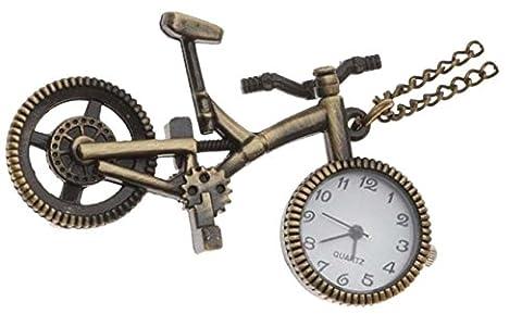 HorBous Creative Retro Vintage Bronze Pocket Watch Montres à quartz Pendentif Collier avec boîte cadeau Set- 6 Styles (Vélo)