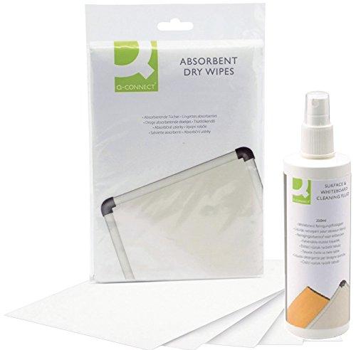 Q Connect Whiteboard Reinigungsset   Whiteboard-Reinigungstücher mit Whiteboard-Reinigungsflüssigkeit [250 ml] zur Grundreinigung von Schreib- und Planungstafeln (1, Set Tücher + Reinger)