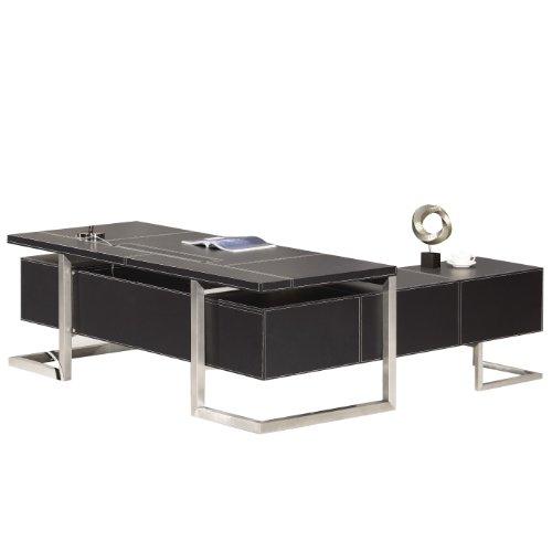 Jet-Line Design Chef Leder Schreibtisch Buero Büroausstattung Moebel Venedig links inkl. Schubladen mit Softclose Sideboads sind vorinstalliert.