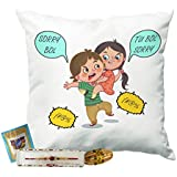 Printelligent Rakhi Gifts For Brother & Sister. Raksha Bandhan Themed Combo Of Cushion Cover With Filler, Rakhi & Packet Of Roli Chawal Gift(Cushion 12x12 Inch)