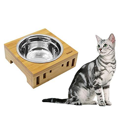 Petilleur Ciotole per Gatti Cani Ceramica Ciotole Gatto Cane con Supporto in bambù Legno (2 Ciotole, Ceramica)