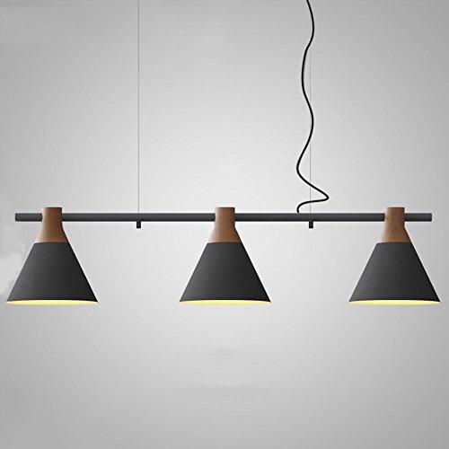 Shubiao Minimalista nórdico Ajustable Recto 3 Cabeza Lámpara Colgante de Hierro Forjado Lámpara de Techo Moderna Creativa Dormitorio Sala de Estar Doble araña de Madera de Acero (Diseño : 2)