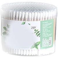 FRCOLOR - 230 piezas de bastoncillos de algodón para mujer, bambú, varilla sanitaria, cosméticos, baquetas de algodón de doble cabeza, herramienta de limpieza de maquillaje