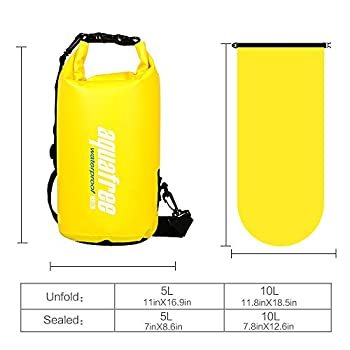 Aquafree Dry Bag, 20l Yellow Dry Backpack, Comfortable & Heavy-duty Grab Handle & Shoulder Strap, Best Material Waterproof Backpack, Quality Roll Top, Waterproof 7