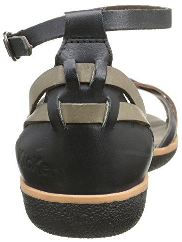 Kickers Hypocrate, Sandales Femme Noir (Noir/Gris/Camel)