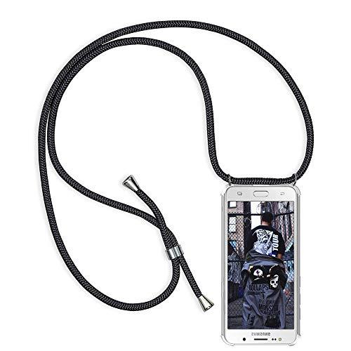 Handykette kompatibel mit Samsung Galaxy J5 2016/J510, Schutzhülle Smartphone Necklace Hülle mit Band Handyhülle Transparent Weich TPU Silikon Relief Vier-Ecken Starke Stossfest Hülle - Schwarz -