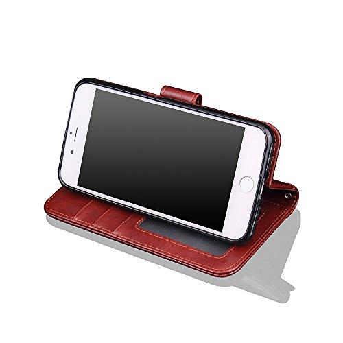 Custodia iPhone8/iPhone7 Plus, BEADY Cover in Pelle, Supporto Stand, Porta Carte e Protettiva Flip Portafoglio Flip Wallet Case per iPhone8/iPhone7 Plus, con Chiusura Magnetica,Marrone Marrone