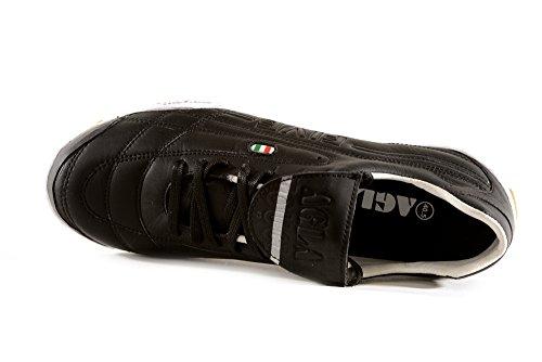 AGLA Professional Five Touch Indoor Scarpe Calcetto Futsal Pelle e Anti-Shock System Black