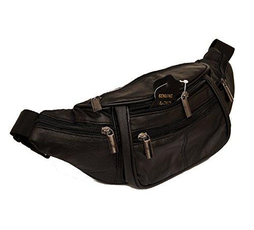 Mujer Hombre Piel Riñonera–Riñonera Doggy Bag Mi 4compartimentos y ajustable Cinturón (piel de napa Negro