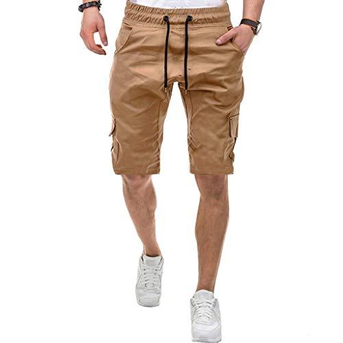 reizeitshorts Tasche Einfarbig Arbeitshose Sporthose Outdoor Sommer Freizeit Chino Bermuda Cargo Strand Stretch Schnel Shorts (L, Khaki) ()