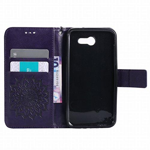 LEMORRY Samsung Galaxy J3 (2017) Custodia Pelle Cuoio Flip Portafoglio Borsa Sottile Bumper Protettivo Magnetico Morbido Silicone TPU Cover Custodia per Galaxy J3 (2017), Fiorire Blu Viola