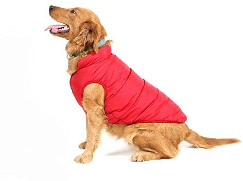 PENVO Ropa para perros de mascotas, abrigos y chaquetas impermeables de invierno para perros pequeños y medianos grandes chaleco de perro cachorro traje de suéter (Rojo, S)
