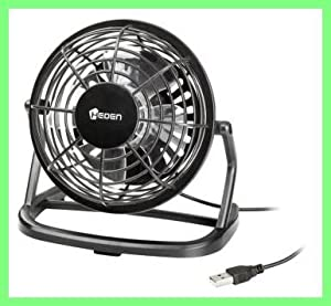 Mini Ventilateur de Bureau - connexion USB - Diamètre 9,6 cm - Alimenté par USB - Silencieux - Orientable - Compatible PC, ordinateur portable, Netbook, Apple Macbook, iMac, PS3, XBOX360, ...avec LOGO HEDEN
