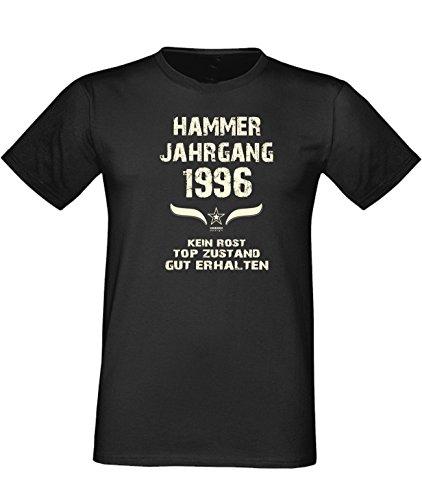 Sprüche Fun T-Shirt Jubiläums-Geschenk zum 21. Geburtstag Hammer Jahrgang 1996 Farbe: schwarz blau rot grün braun auch in Übergrößen 3XL, 4XL, 5XL schwarz-01