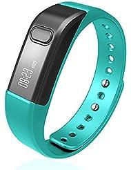 Youenmi–Monitor de actividad con Bluetooth 4.0. Pulsera deportiva inteligente con podómetro, contador de calorías y monitor de sueño para iPhone, Samsung, teléfonos inteligentes iOS y Android., azul