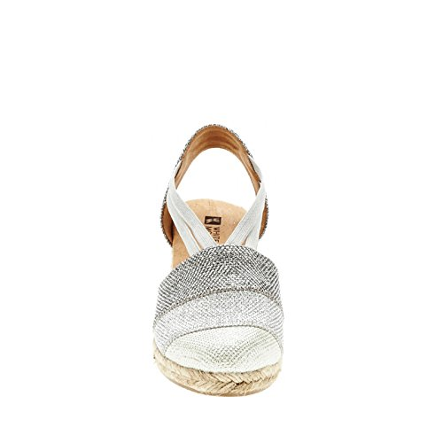 White Mountain Supreme Toile Espadrille silver