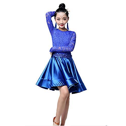 YONGMEI Tanzkostüm - Latin Dance Kostüm Kinder Mädchen Herbst und Winter Latin Dance Dress Langarm-Praxis Wettbewerb Dance Kostüm (Farbe : Blau, größe : ()