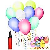 30er Pack LED leuchtende Luftballons, AGPTEK 30 Stück LED bunte leuchtende Ballons mit farbigem Band, 12-24 Stunden Leuchtdauer, mit Helium oder Luft befüllbar, ideal für Party, Geburtstag, Hochzeit, Festival, Weihnachten