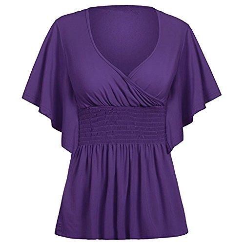 iBaste cime delle donne scollo a v manica corta camicia pipistrello a pipistrello t-shirt Viola