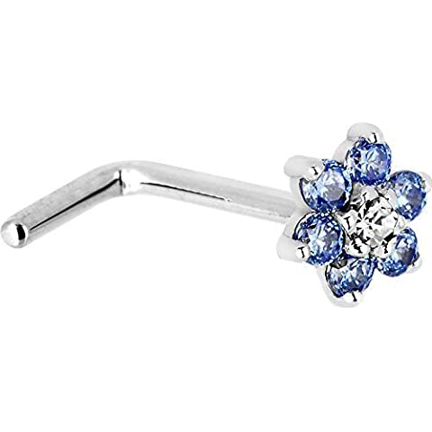 Sólido 14KT blanco de Arctic azul y diseño de flores y circonitas cúbicas L-forma de nariz anillo - de gran calibre 18