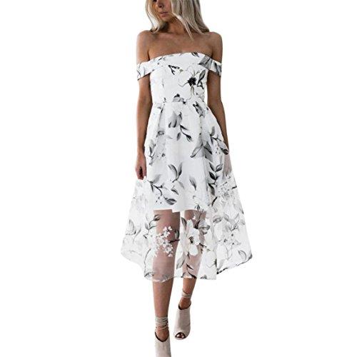 Moonuy Frauen Kleid, Damen Schulterfrei Kleid, Sommer Floral Printed Long Maxi Rock, Frühling Geraden Rock, Solid Short Sleeve Abendkleid, Mode Plissee-Skir (Weiß, EU 36/Asien M) (Plissee-rock Denim)