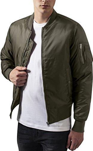 Urban Classics TB861 Herren Jacke - Basic Bomber Jacket, Bomberjacke mit aufgesetzter Tasche und Zipper am Arm, Grün (darkolive 551), Gr....